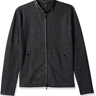 John Varvatos Men's Long Sleeved Racing Jacket, Charcoal Heather, Extra Large