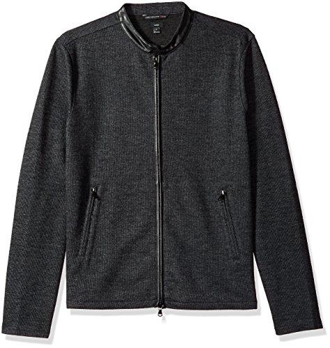 John Varvatos Men's Long Sleeved Racing Jacket, Charcoal Heather, Extra Large