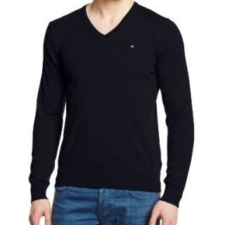 J.Lindeberg Men's Lymann Tour Merino Golf V-Neck Sweater,Navy,M