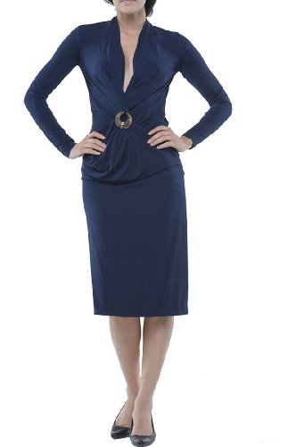 Roberto Cavalli - Dress Navy Gold Brooch, 42, Blue