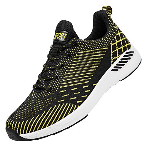 KUIBU Mens Lightweight Breathable Shock Absorption Slip-On Fitness Sports Casual Running Sneaker Shoes