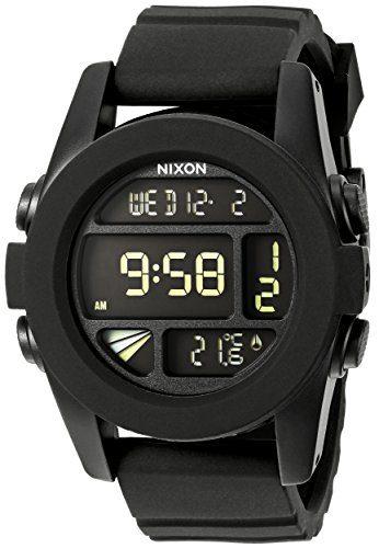 Nixon Unit. Black Men's Digital Watch. (44mm. Digital LCD Watch Face. 24mm Black Band)