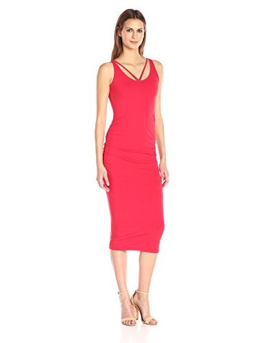 Michael Stars Women's Front to Back Midi Dress with Shirring, Blaze, S