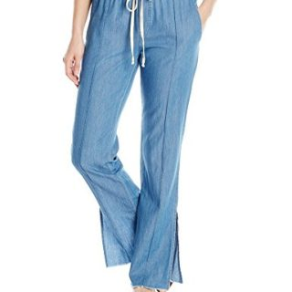 Enza Costa Women's Pintuck Slim Trouser, Rinse, M
