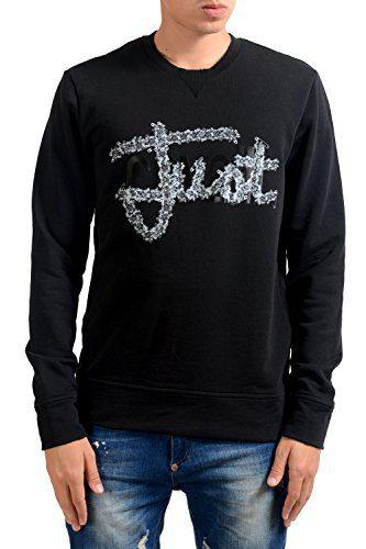 Just Cavalli Men's Black Graphic Long Sleeve Crewneck Sweatshirt US M IT 50