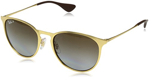 Ray-Ban Erika Metal Polarized Round Sunglasses, Matte Gold, 54 mm