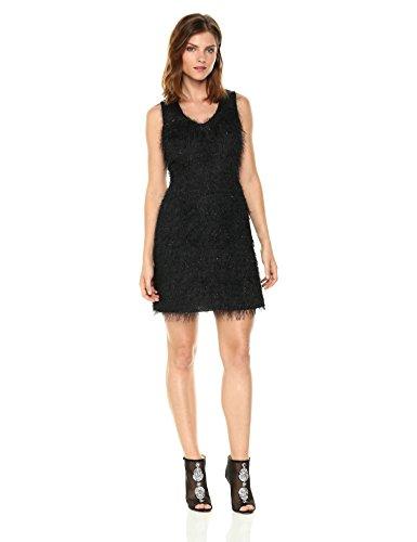 A|X Armani Exchange Women's All-Over Fringe V-Neck Sleeveless Dress, Black, 4