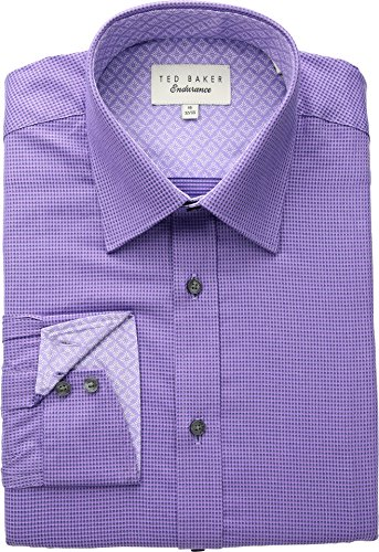 Ted Baker Men's Dudders Endurance Dress Shirt Purple 15.5-32-33