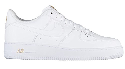 NIKE Mens Air Force 1 Low 07 Crest Basketball Shoes White/Metallic Gold-102 Size 9.5