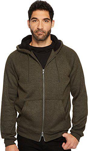 John Varvatos Men's Long Sleeve Zip-Front Hoody, Olive Branch, Large