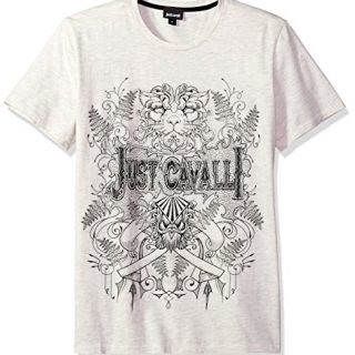 Just Cavalli Men's Graphic T-Shirt, Seed Pearl Melange, XL