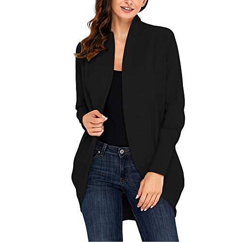 Lrud Women's Long Sleeve Knit Cardigan Casual Mid Long Open Front Sweater Coat Black-XL