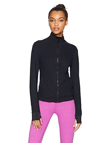 Trina Turk Recreation Women's Plush Jacquard Front Zip Sport Jacket, Black, Small