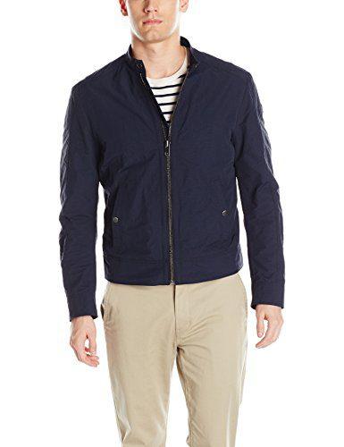 BOSS Orange Men's Onate Leather Bomber Jacket, Dark Blue, 38R