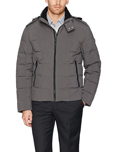 Tumi Men's Box Quilted Down Jacket with Removable Hood, Storm, X-Large