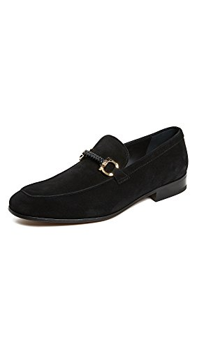 Salvatore Ferragamo Men's Cross Loafers, Black, 10 D(M) US
