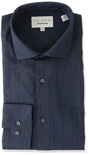 "Ted Baker Men's Cholet Slim Fit Dress Shirt, Navy, 15"" Neck 32-33"" Sleeve"