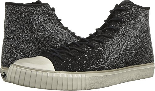John Varvatos Men's Mid Top Engineered Black/White 9.5 D US