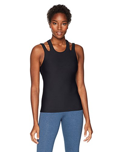 Trina Turk Recreation Women's Back Again Solid Sports Tank Top, Black, Extra Small
