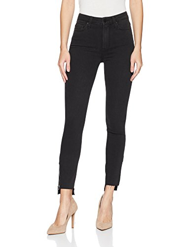 PAIGE Women's Margot Crop Jeans, Black Fog Zip Uneven Hem, 28