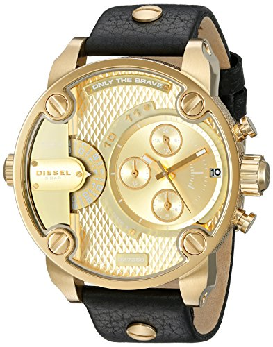 Diesel Men's Little Daddy Gold Black Leather Watch