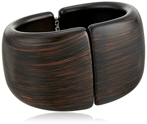 Kenneth Jay Lane Dark Wood Front Closure Hinged Cuff Bracelet