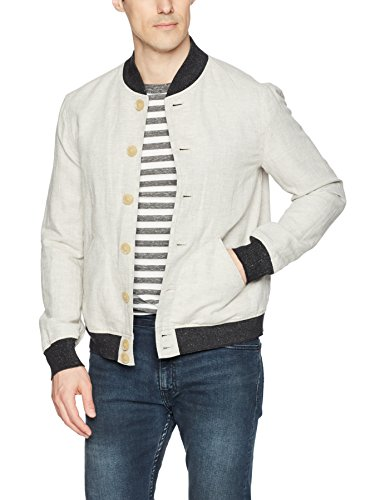 John Varvatos Star USA Men's Bomber Jacket, Fossil Grey, Medium