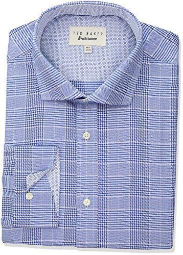 """Ted Baker Men's Regor Slim Fit Dress Shirt, Blue, 17"""" Neck 34""""-35"""" Sleeve"""