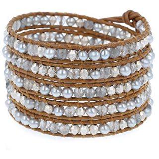 Chan Luu Grey Freshwater Pearls and Grey Semi Precious Stones Henna Color Leather Wrap Bracelet