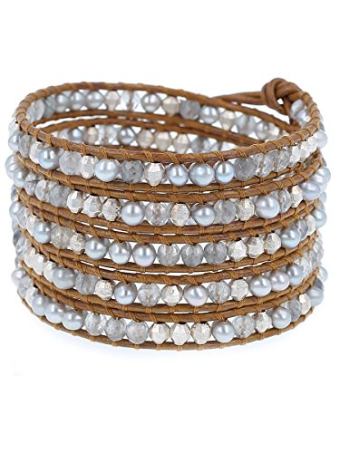 Chan Luu Grey Freshwater Pearls and Grey Semi Precious Stones Henna Color Leather Wrap Bracelet