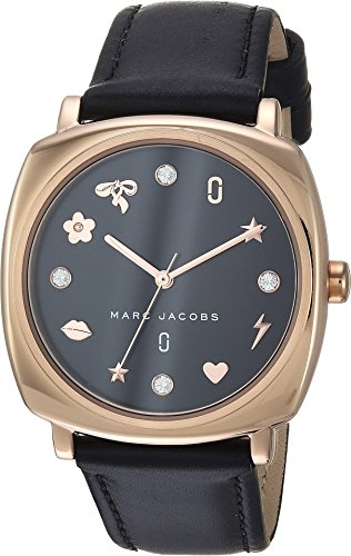 Marc Jacobs Women's 'Mandy' Quartz Stainless Steel and Leather Casual Watch, Color Black (Model: MJ1565)