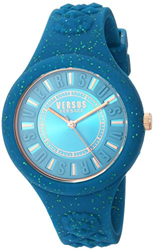 Versus by Versace Women's 'FIRE Island Glitter' Quartz Stainless Steel and Silicone Casual Watch, Color:Green