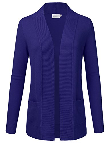 JJ Perfection Women's Open Front Knit Long Sleeve Pockets Sweater Cardigan ROYALBLUE2 S