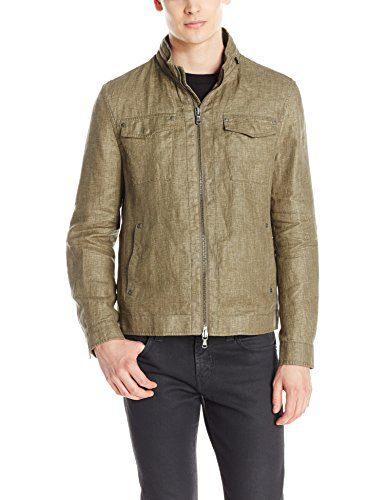 John Varvatos Men's Linen Field Jacket, Clay Brown, Medium
