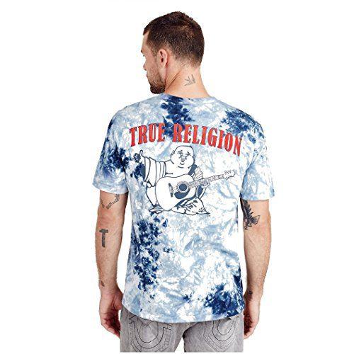 True Religion Men's Buddha Logo Short Sleeve Tee, Ocean Waves, L