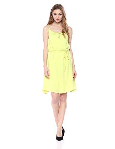 A X Armani Exchange Women's Drawstring Neck Line Spaghetti Strap Waist Tie Dress, Lime, 0