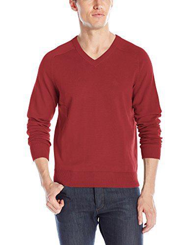 Original Penguin Men's V-Neck Sweater, Pomegranate, Large