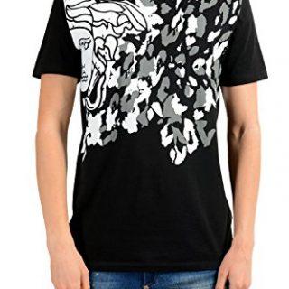 Versace Collection Men's Black Graphic Print T-Shirt US M IT 50