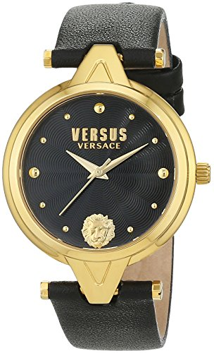 Versus by Versace Women's 'V Versus' Quartz Stainless Steel and Leather Casual Watch, Color Black