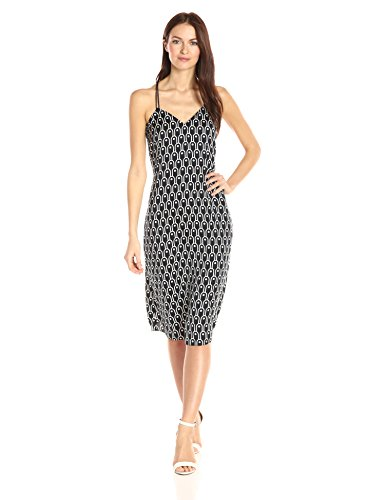 A|X Armani Exchange Women's Cami V Neck Midi Printed Woven Dress, Navy, 6