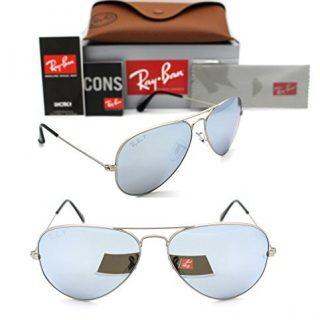 Ray-Ban Aviator 019/W3 58mm Matte Silver Polarized Silver Mirror L642c