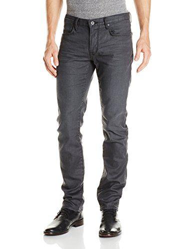 John Varvatos Star USA Men's Bowery Fit V Stitch Pocket Jeans, Graphite, 28 Regular