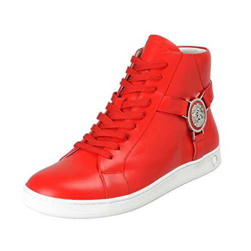 Versace Versus Men's Red Leather Hi Top Fashion Sneakers Shoes Sz US 9 IT 42