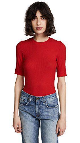 Enza Costa Women's Rib Half Sleeve Crew Tee, Iconic Red, Medium