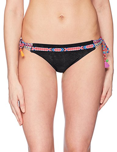 Nanette Lepore Women's Side Tie Hipster Bikini Swimsuit Bottom, Black/Cha Cha Cha, Large