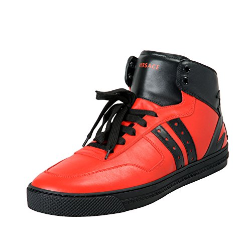 Versace Men's Red & Black Leather Hi Top Fashion Sneakers Shoes Sz US 9 IT 42