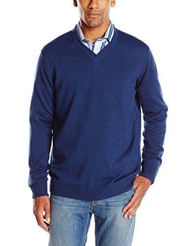 Robert Graham Men's Newcastle V-Neck Sweater, Navy, XX-Large