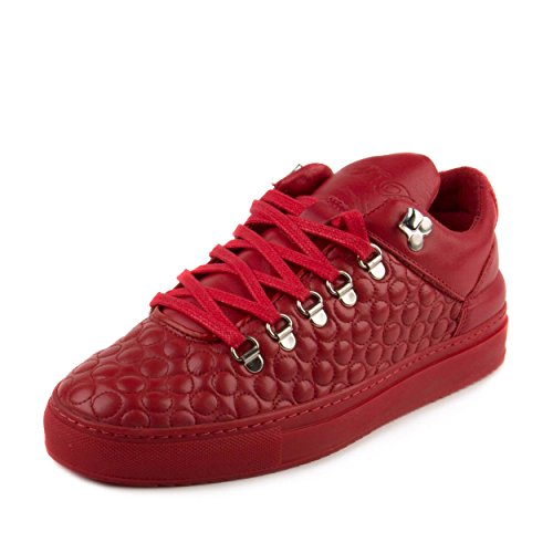 "Filling Pieces Mens Mountain Cut AW15 ""Quilted Circles Red"" Red Leather Size 39"