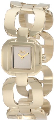 D&G Dolce & Gabbana Women's Bbq Round Square Case Gold Dial Watch