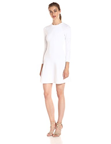 A|X Armani Exchange Women's Long Sleeve Crew Neck Fit and Flare Dress, White, Large